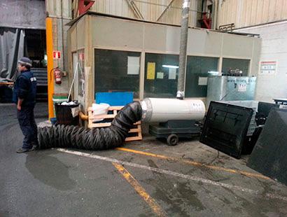Alquila calefacción para naves industriales