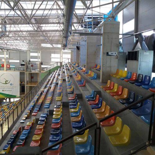 Aire acondicionado en gradas en el campeonato del mundo de gimnasia rítmica en Guadalajara