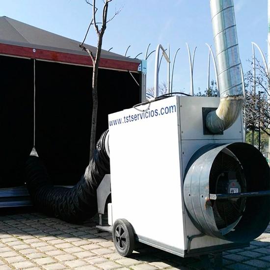Alquiler de generadores de aire caliente para calefacción en instalaciones temporales en ferias