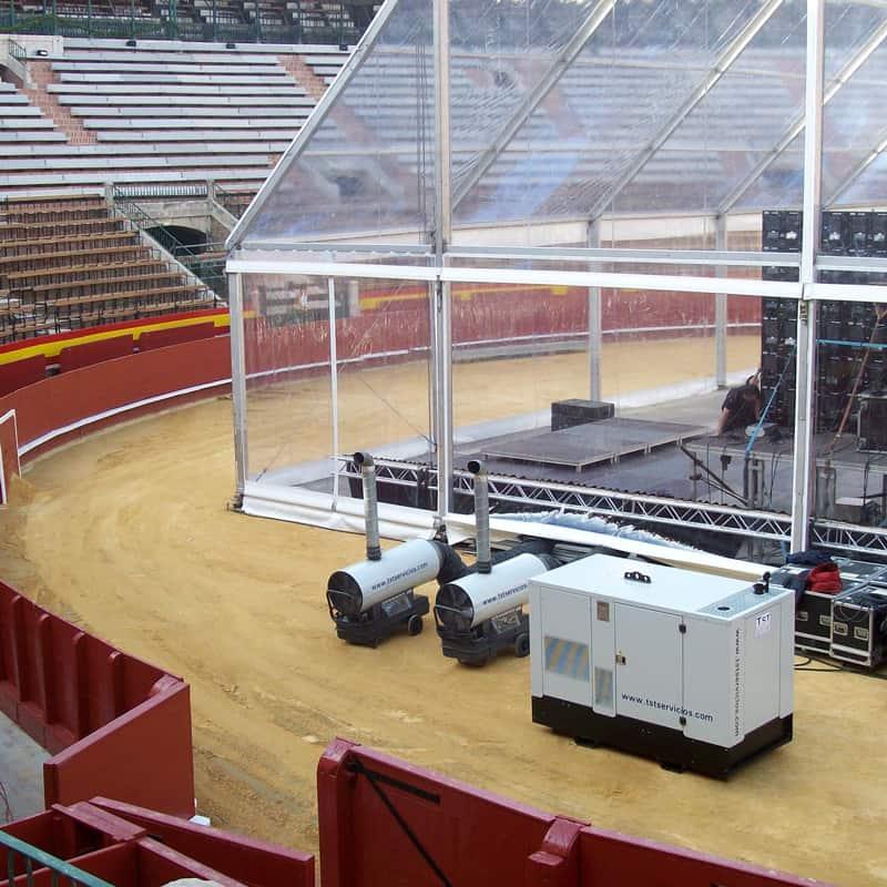 Alquilar cañones de calor para calefacción en instalaciones temporales en carpas de eventos