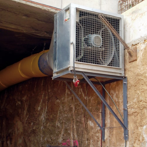 Caja de ventilación en túneles