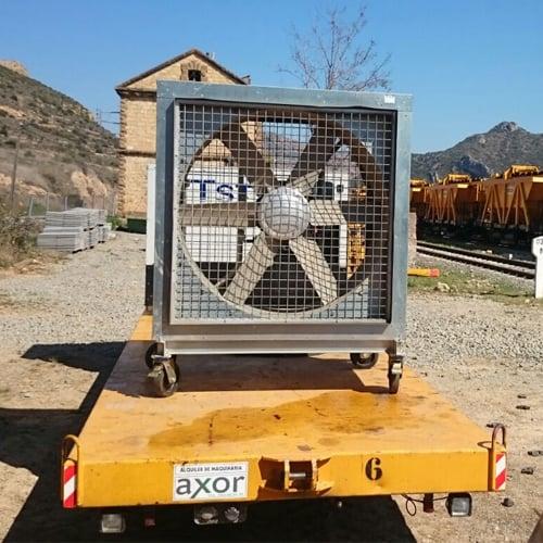 Caja de ventilación en obras y túneles