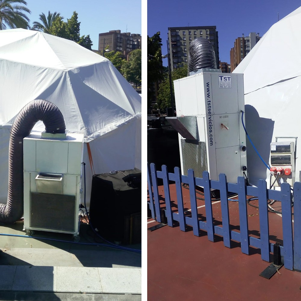 Imagen de los equipos de aire acondicionado de TST instalado para refrigerar la carpa