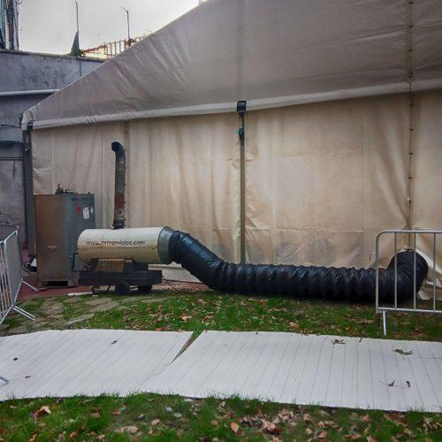 generador de aire caliente para la carpa del ATHLETIC CLUB BILBAO.
