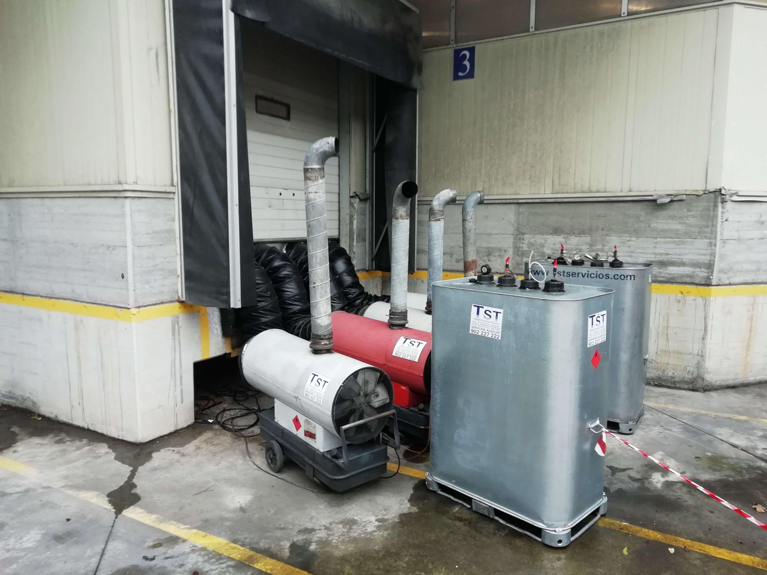 sistema de calefacción en nave industrial generador de aire caliente con deposito nodriza