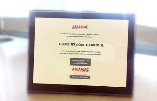 TST cumple por sexto año consecutivo todos los requisitos del protocolo de alquiler de maquinaria que exige la asociación ASEAMAC
