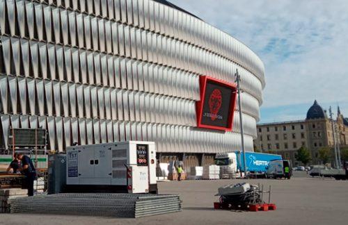 Instalación temporal de potencia eléctrica en el Estadio San Mamés