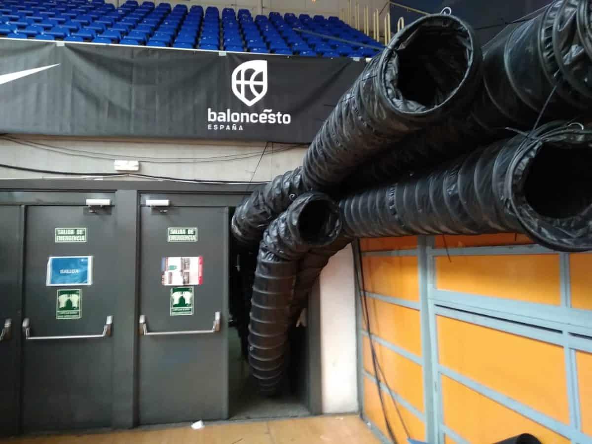 Instalación temporal conductos aire pabellón Fuenlabrada Madrid