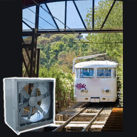 Ventilación en obras del Funicular de Montjuic de Barcelona
